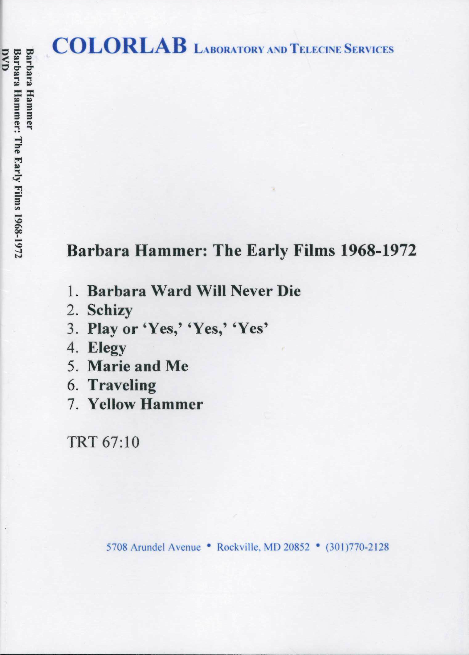 Buy Barbara Hammer: The Early Films 1968-1972